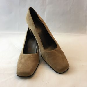 Tan Square Toe Block Heels Slip On Classic Pumps 8